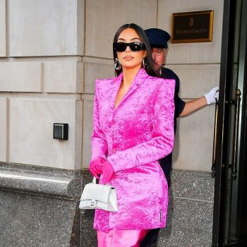 kim-kardashian-west-wears-pink-balenciaga-coat-dress-for-snl-rehearsal-new-york-city