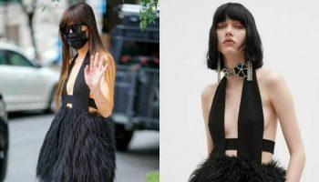 dakota-johnson-wore-black-feathered-mini-dress-out-in-new-york