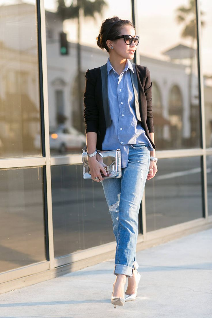 Chambray Shirt , Boyfriend Jeans and Metallic purse