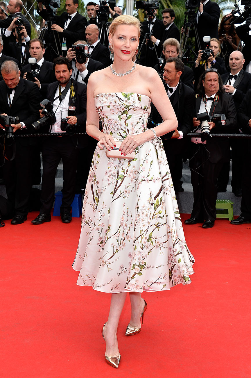 Nadja Auermann in Dolce & Gabbana soft roll bustier fit and flare floral dress.