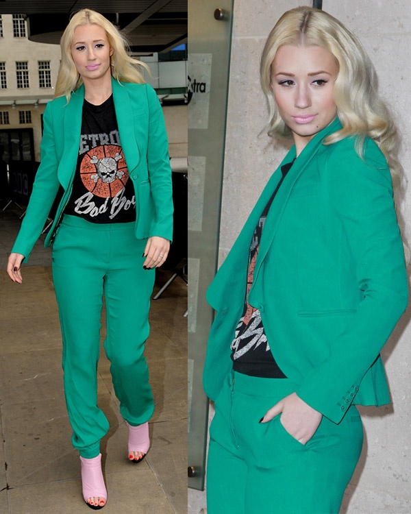 ggy Azalea seen leaving Radio 1 in a black t shirt and green suit