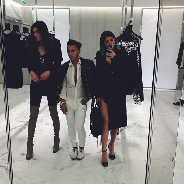 Kendall and Kylie shopping at Saint Laurent
