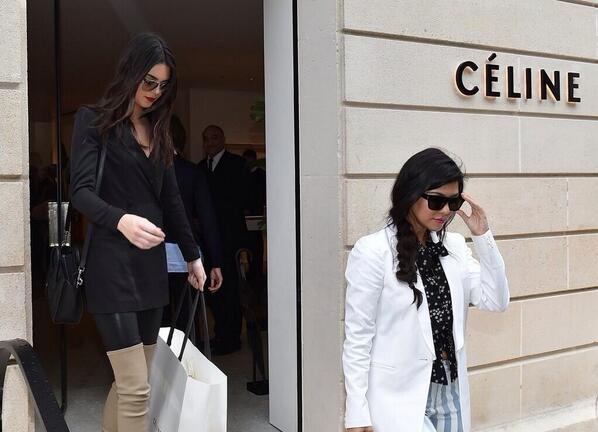 Kourtney and Kendall leaving Céline in Paris