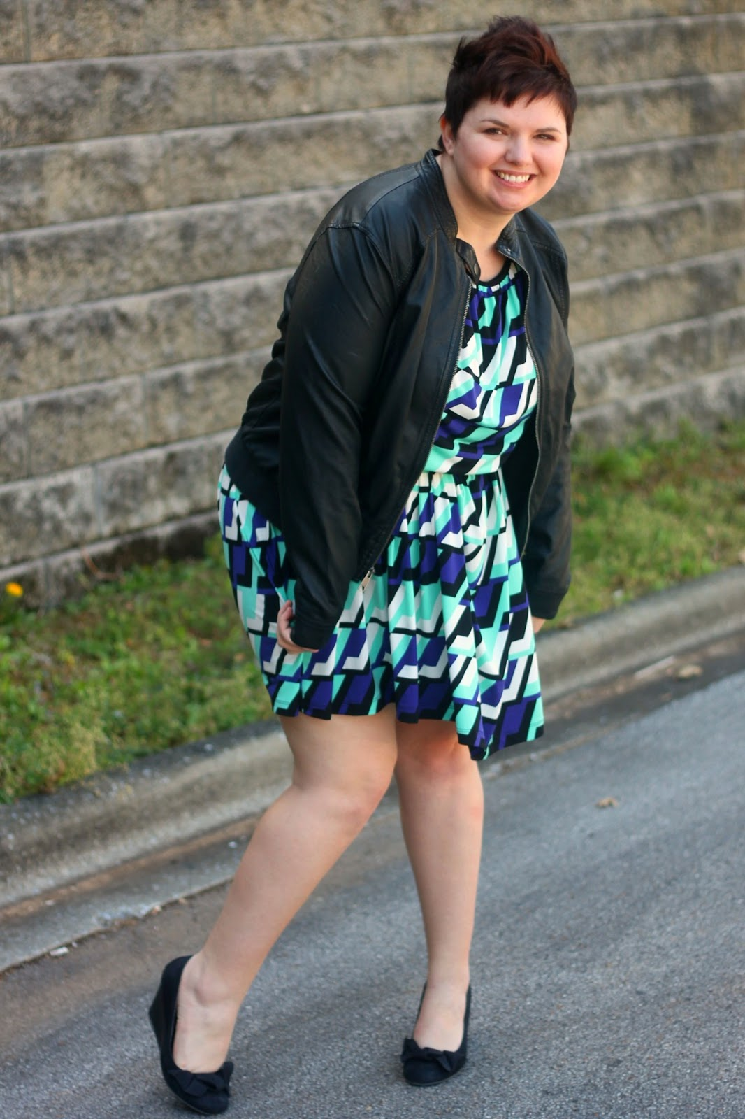 pLus+Size+Geo+Prinnt+Dress