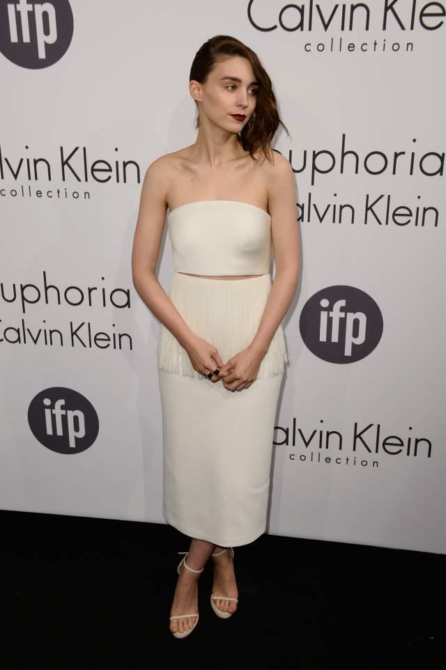 Rooney Mara wore a white custom Calvin Klein dress