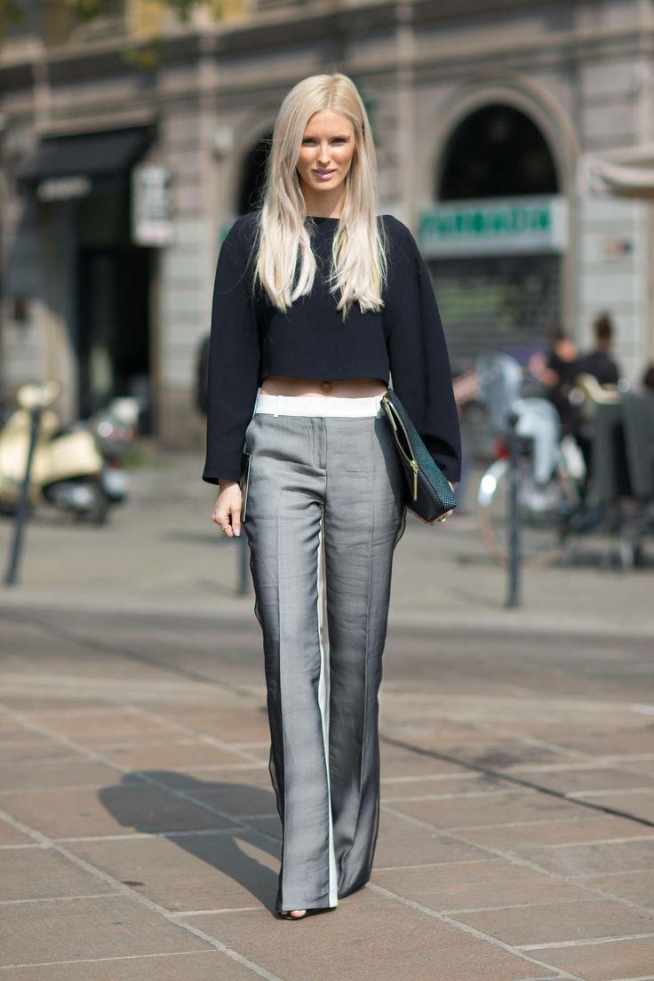 Black crop top with grey pants