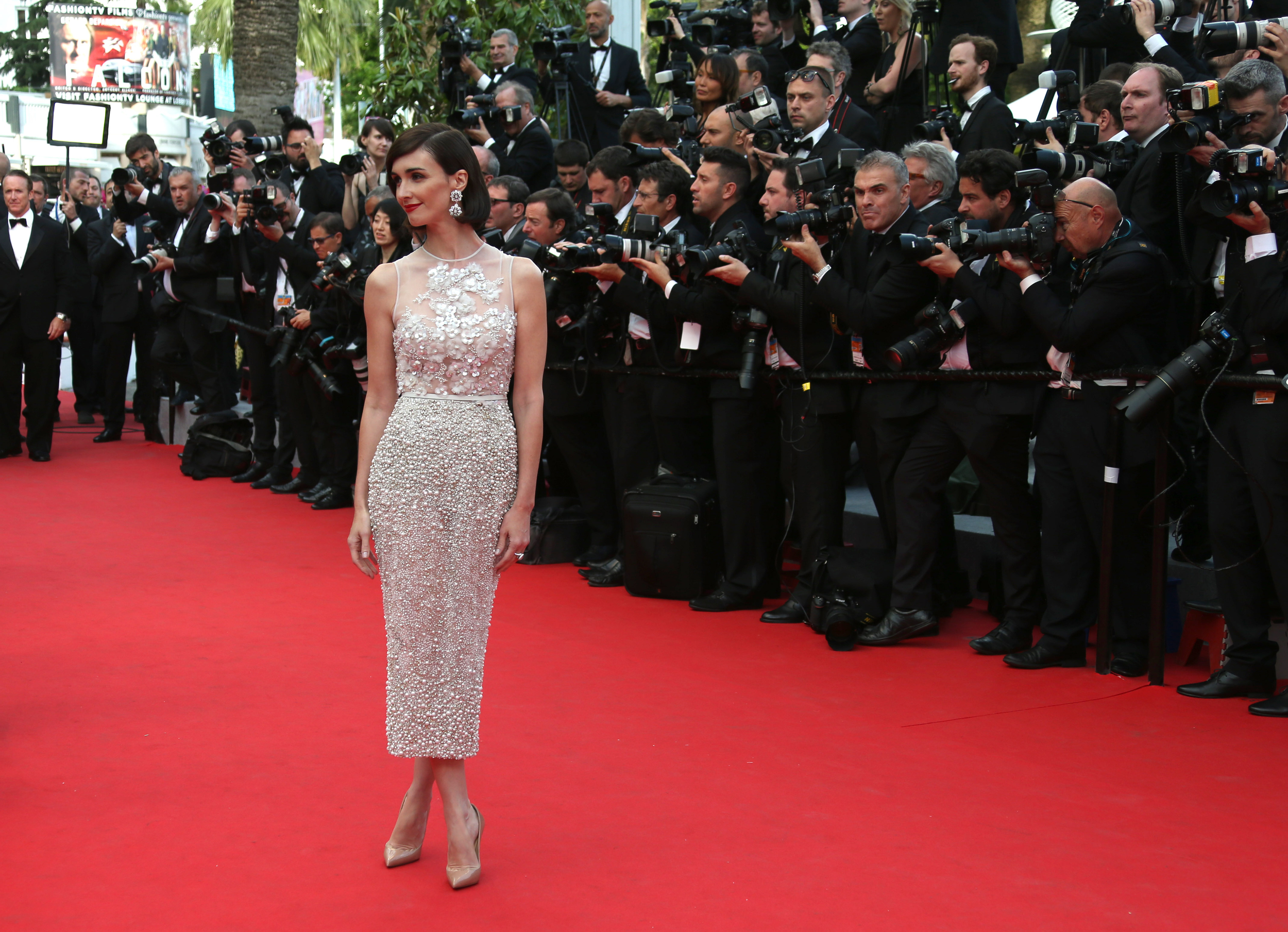 Paz Vega in Elie Saab couture and Christian Louboutin shoes