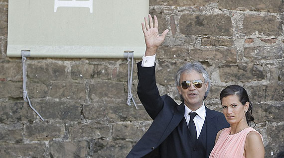 Italian tenor Andrea Bocelli serenaded Kim and Kanye with several of songs, including Con te Partiro.