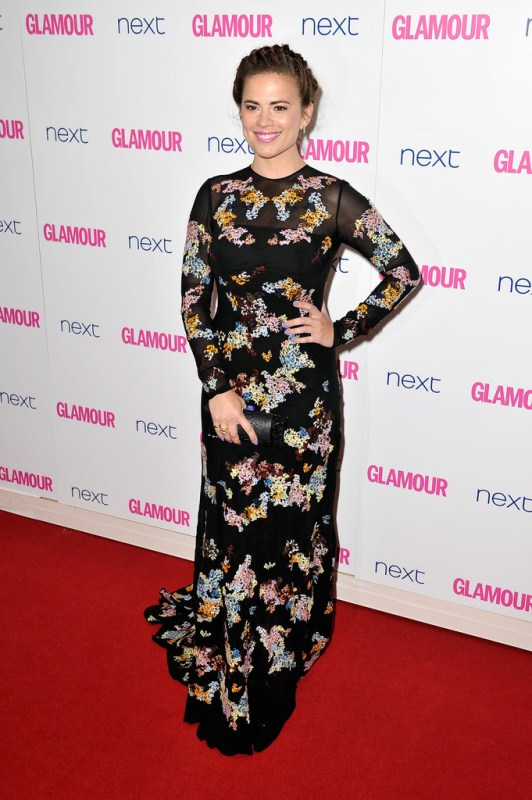 Hayley Atwell in a black Ermanno Scervino at The Glamour of the Year Awards
