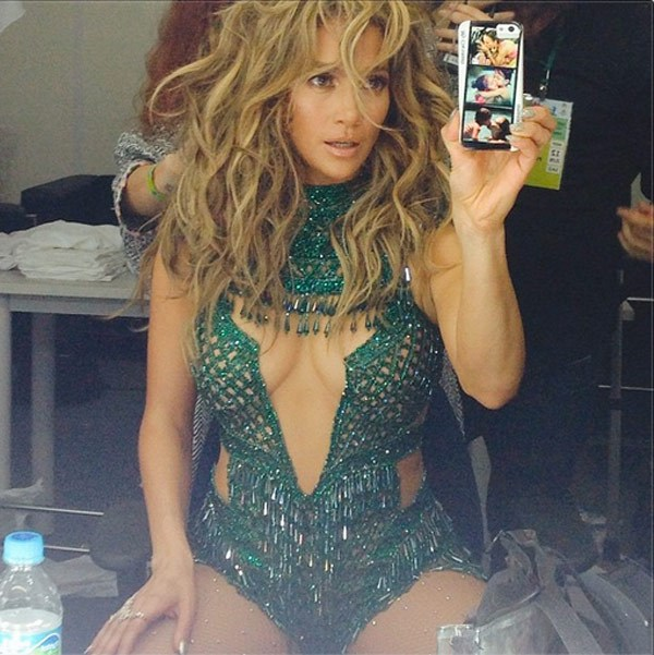 Jennifer Lopez posts a pic right before her Opening Ceremony of the 2014 FIFA World Cup Brazil performance (Courtesy of Instagram)