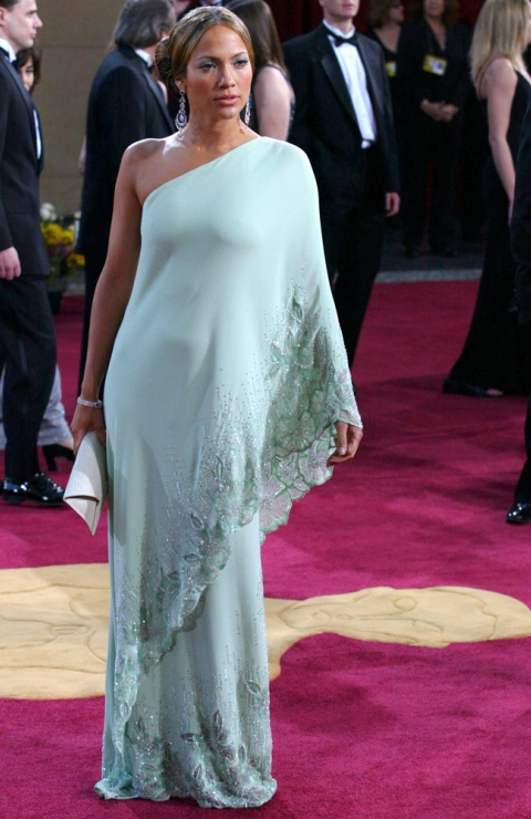 Jennifer Lopez in a vintage Valentino dress that was also worn by Jackie O.