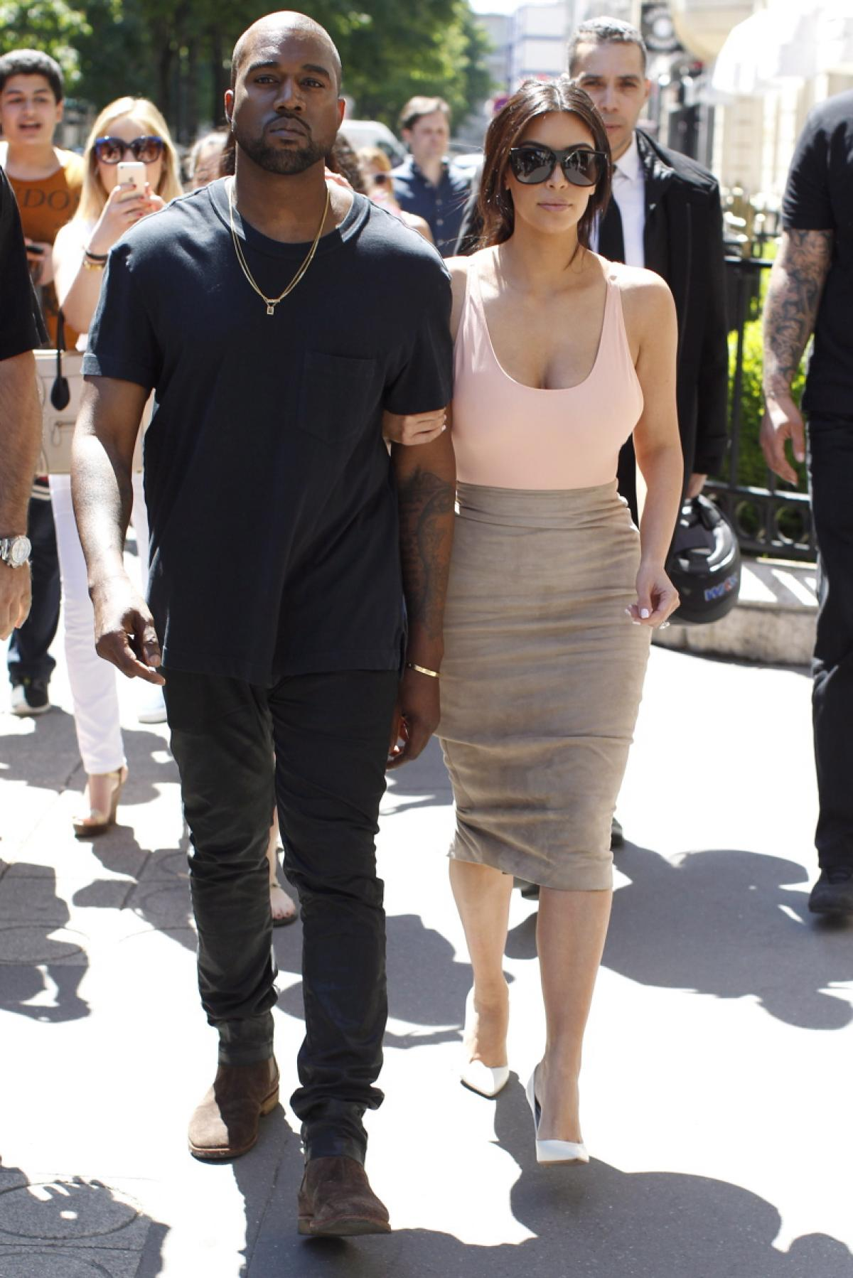 Kim with her soon to be husband Kanye West