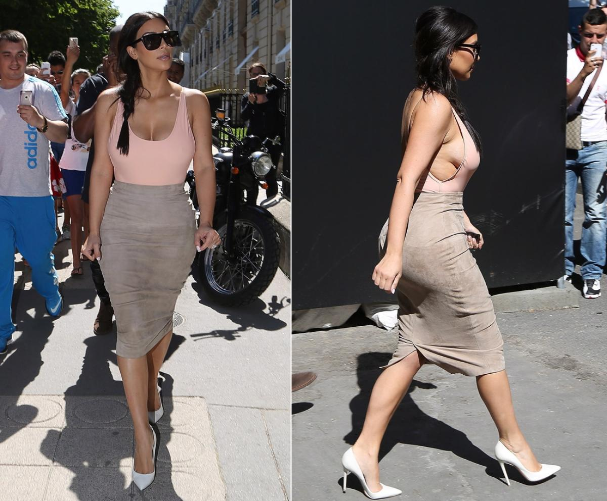 Km Kardashian in an American Apparel bodysuit & Ermanno Scervino S/S 2014 skirt