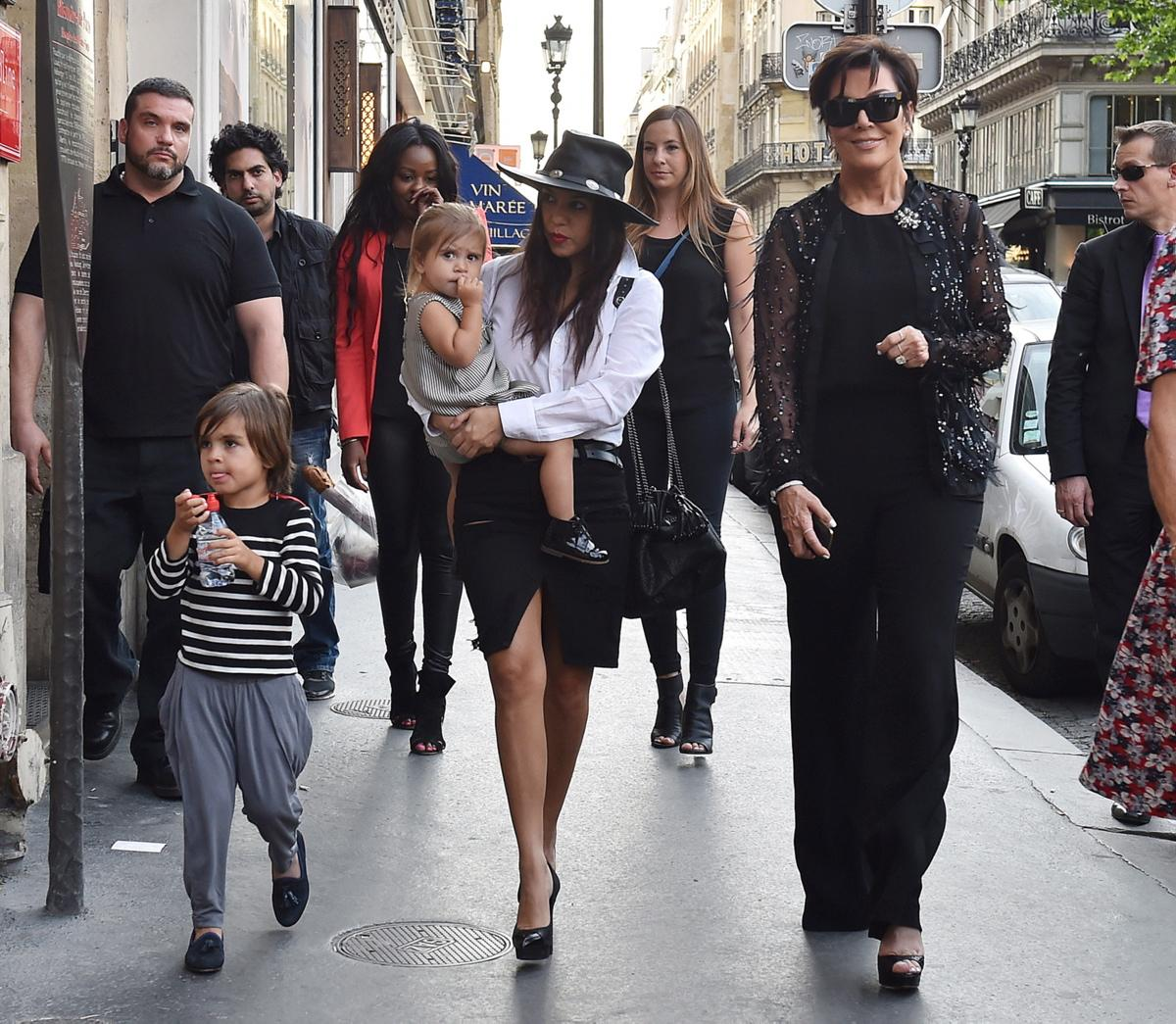 Kourtney K ardashian with her children Penelope and Mason and their grandmom Kris Jenner