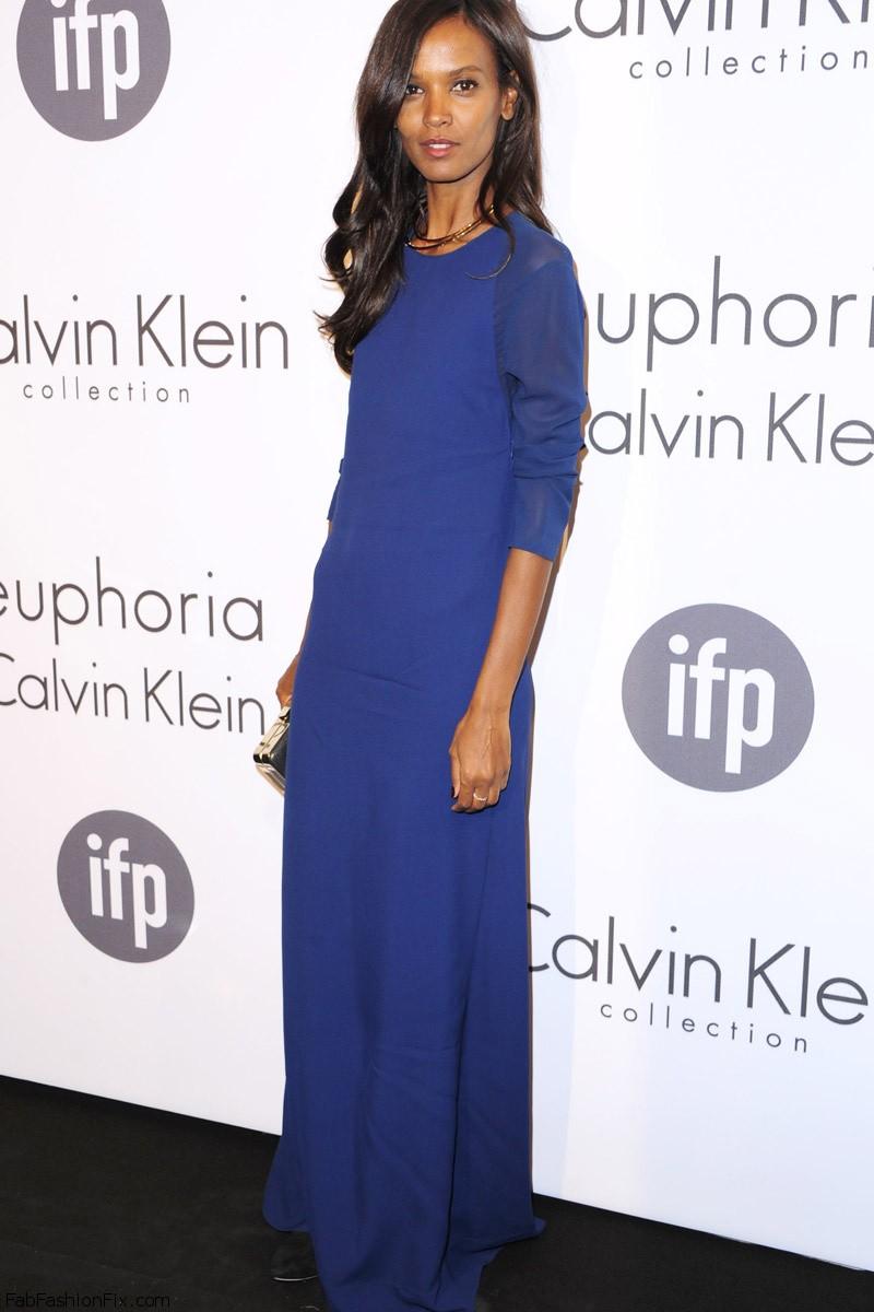 Liya Kebede in a long blue Calvin Klein dress