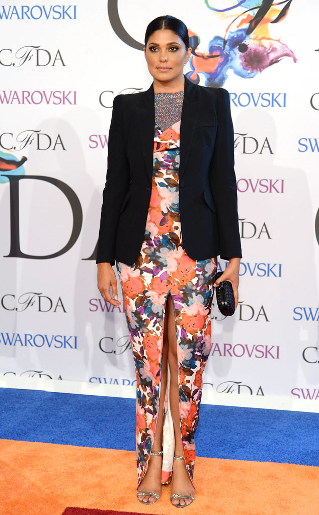 Rachel Roy was in a black blazer over a floral dress with a thigh-high slit.