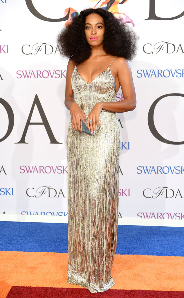 Solange s in a custom-made Calvin Klein Collection dress.