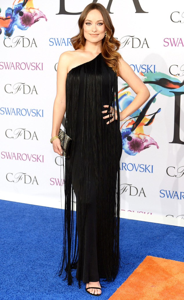 Olivia Wilde in a black fringe gown